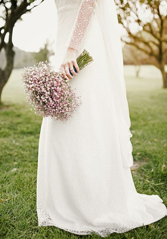 a wedding bouquet made of baby's breath works well too