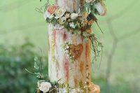 15 a sophisticated secret garden wedding cake with textural buttercream with gold and pink touches, fresh blooms and greenery si amazing