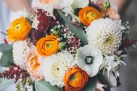 17 a bright and cool wedding bouquet with white anemones and dahlias, orange ranunculus, waxflowers and greenery for a bright wedding
