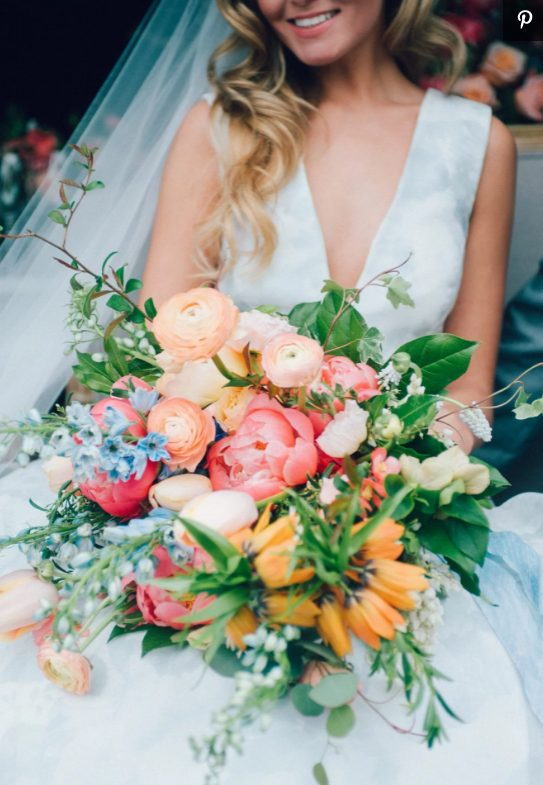 a cool colorful wedding bouquet