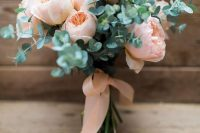 21 a blush peony rose wedding bouquet with eucalyptus and matching ribbons is a lovely and very girlish bouquet idea