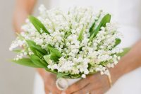 24 a pretty and small wedding bouquet of lily of the valley is a gorgeous and fabulous idea for a spring bride