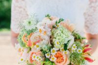 25 a colorful summer wedding bouquet with peachy and pink peonies, daisies, greenery, green hydrangeas and coral lilies is fun