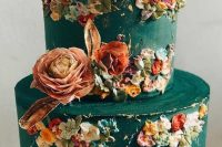 25 a green buttercream wedding cake with pastel sugar blooms and real ones is a jaw-dropping option for a secret garden wedding