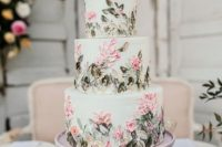 28 a light green wedding cake with sugar pink flowers and foliage is a fantastic idea for a secret garden wedding