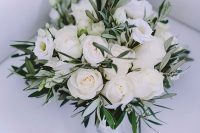 29 a white rose wedding bouquet with greenery is a chic and beautiful idea to rock, it's a fresh take on classics