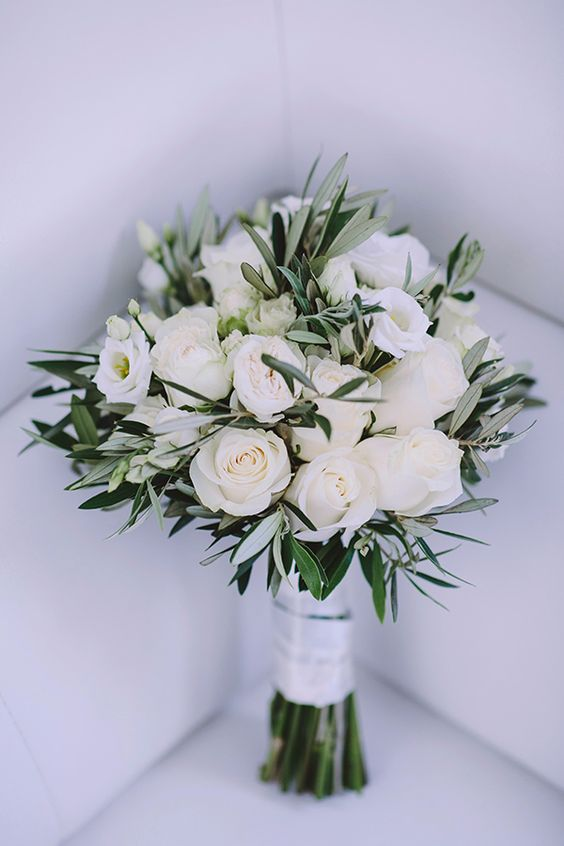 a white rose wedding bouquet with greenery is a chic and beautiful idea to rock, it's a fresh take on classics