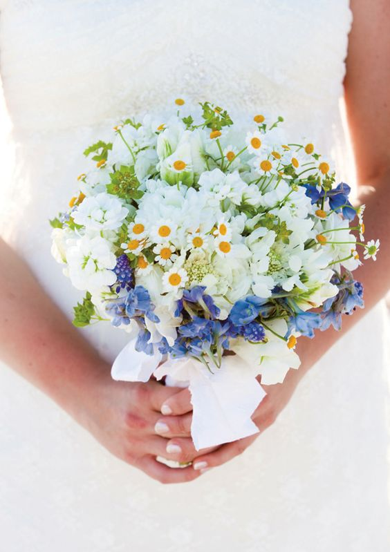 a lovely and bright wedding bouquet of daisies, white sweet peas, blue blooms and some white ribbons is a veyr stylish idea