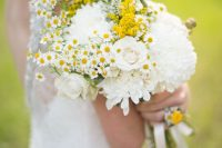 32 a lovely summer wedding bouquet of white dahlias, astilbe, white roses, daisies and some neutral ribbons is a chic and beautiful idea