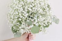 32 an easy and cool wedding bouquet of only baby's breath and eucalyptus is a lovely idea for any bride who wants something romantic