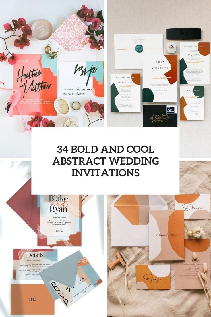 34 Bold And Cool Abstract Wedding Invitations