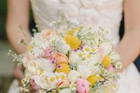 37 a romantic wedding bouquet of white and pink ponies, billy balls, daisies and some fillers is a very chic and cute idea