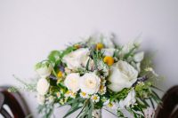 38 a summer wedding bouquet of daisies, white roses and ranunculus, grasses and billy balls is a beautiful option for spring or summer