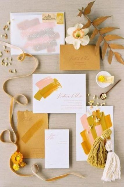 a bold fall wedding invitation suite with mustard and pink abstract touches, with lovely calligraphy and a raw edge