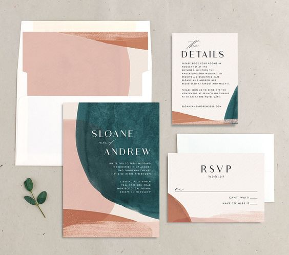a bold wedding invitaiton suite with pink, teal, rust touches and abstract patterns plus modern black lettering