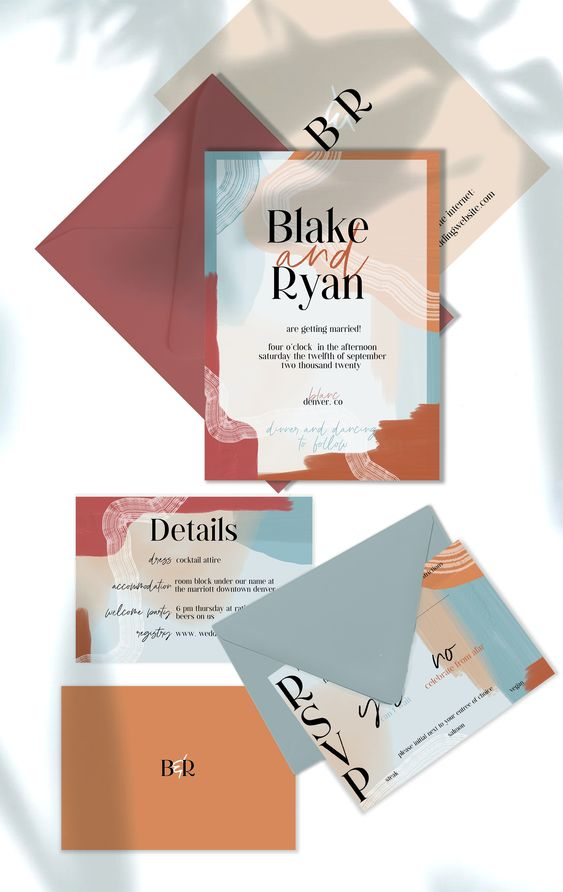 a bright modern abstract wedding invitation suite in pale blue, purple, rust and blush touches and black lettering