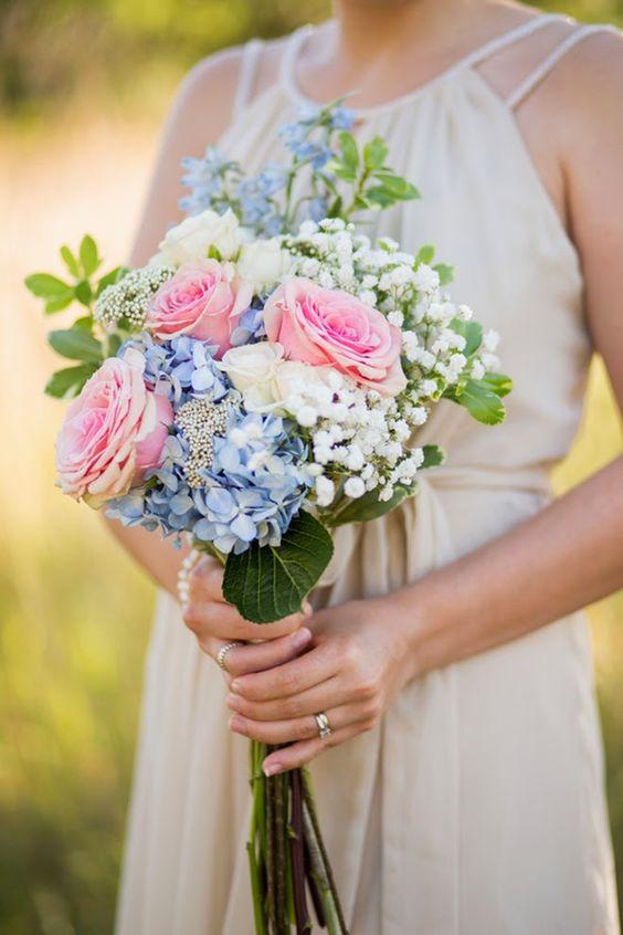 a stylish wedding bouquet with hydrangeas