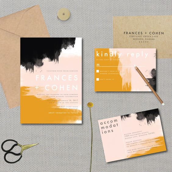 a colorful wedding invitation suite with mustard, black, blush touches and chic modern lettering is a cool solution for a bold wedding