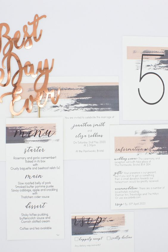 a contemporary wedding invitation suite with lilac and blush touches, with black calligraphy and a number