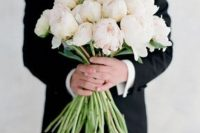a long stem peony wedding bouquet in white and blush is a very chic and creative idea to rock, you can make it yourself