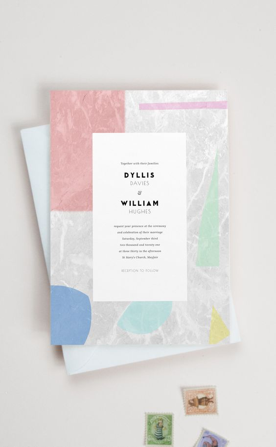 a modern abstract terrazzo inspired wedding invitation set with pink, blue and turquoise touches is a lovely idea for a modern wedding