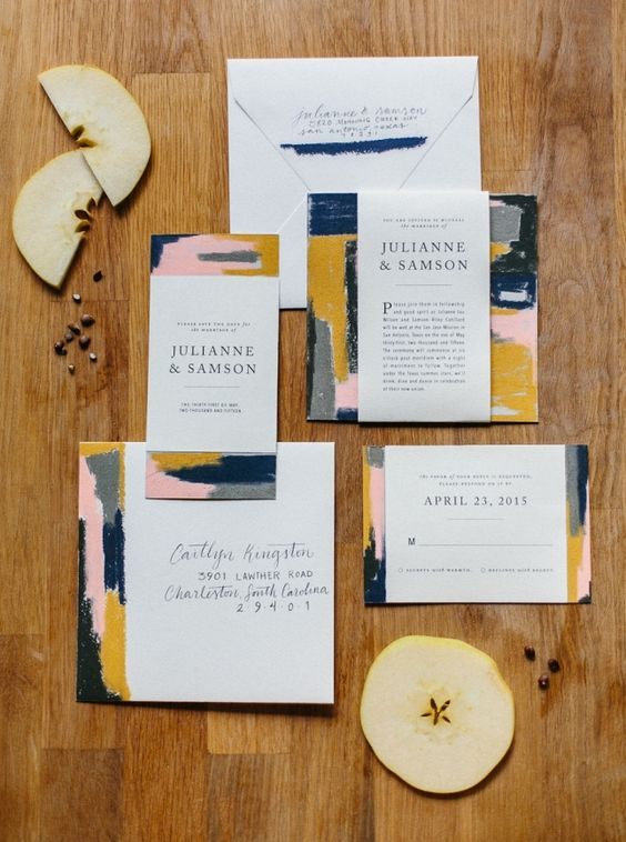 a stylish abstract wedding invitation suite in navy, pink, grey and myustard and with chic lettering is a gorgeous idea for a fall wedding