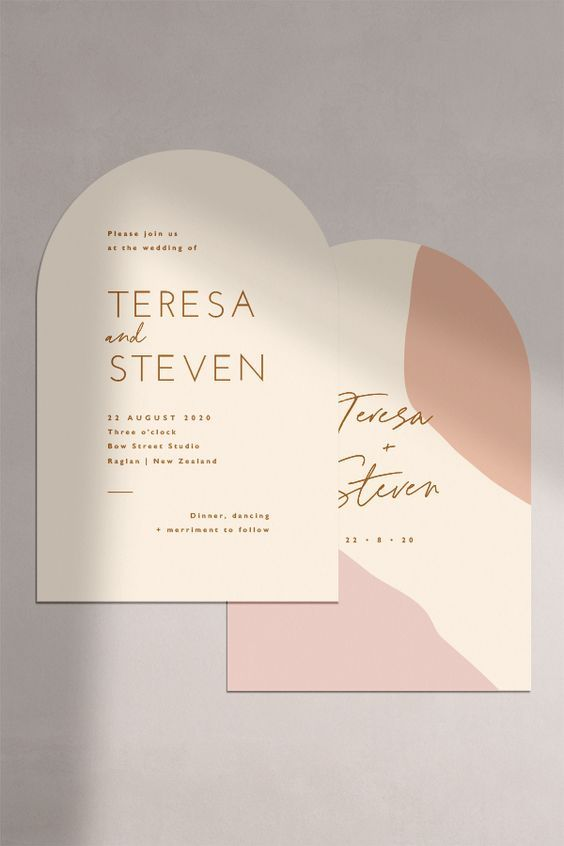 a stylish and refined abstract wedding invitations with blush and peachy pink touches, with an curved edge and godl calligraphy