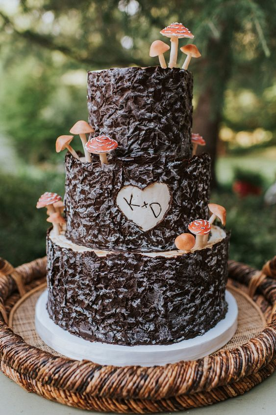 an enchanted forest wedding cake covered with bark, with a cutout heart and mini mushrooms is a lovely and natural-looking idea