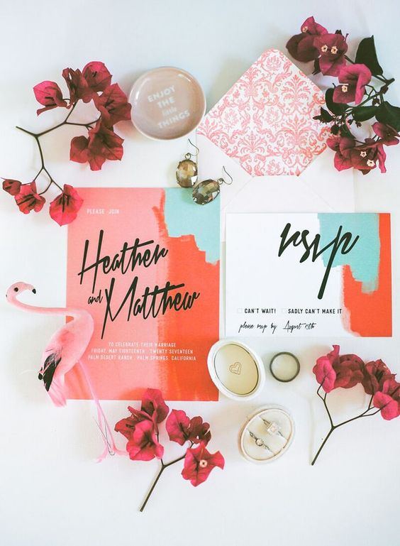 super bold and elegant abstract wedding invitations in white, red, pink and mint green, with black calligraphy for a summer wedding