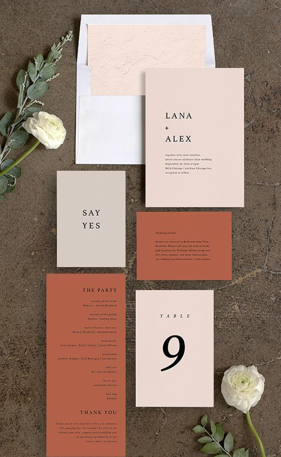 a stylish and bold modern fall wedding invitation suite in blush and rust, with cool printing is a chic idea