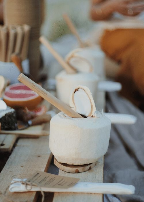 coconut drinks with bamboo straws are great eco-friendly wedding favors for a tropical or destination wedding