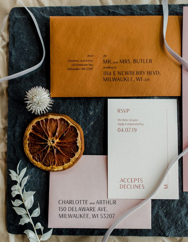 a pretty modern fall wedding invitation suite in blush, rust and with styling printing