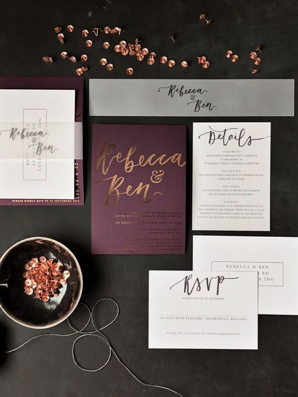 elegant and bold modern wedding stationery in deep purple, white and grey, with cool calligraphy and copper foil