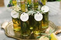 07 olive oil with herbs and tags with grasses is a very cool and very eco-friendly wedding favor that is also very good for health