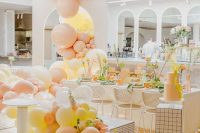11 a modern bridal shower space decorated with pastel blooms, with lovely blooms and greenery and pastel decor is wow