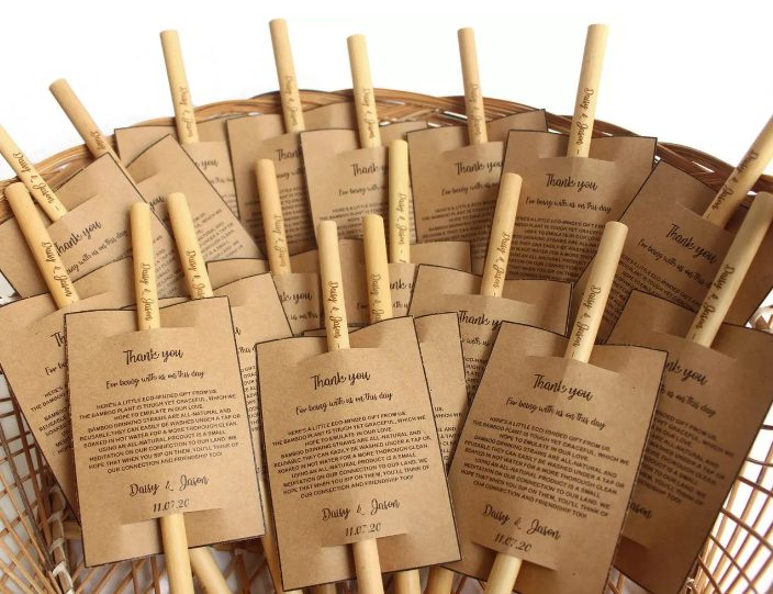 bamboo straws are cute and thoughtful wedding favors that will help your guests cut out sngle-use plastic ones and become more eco-friendly