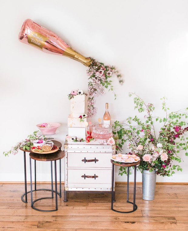 a glam bridal shower tablescape