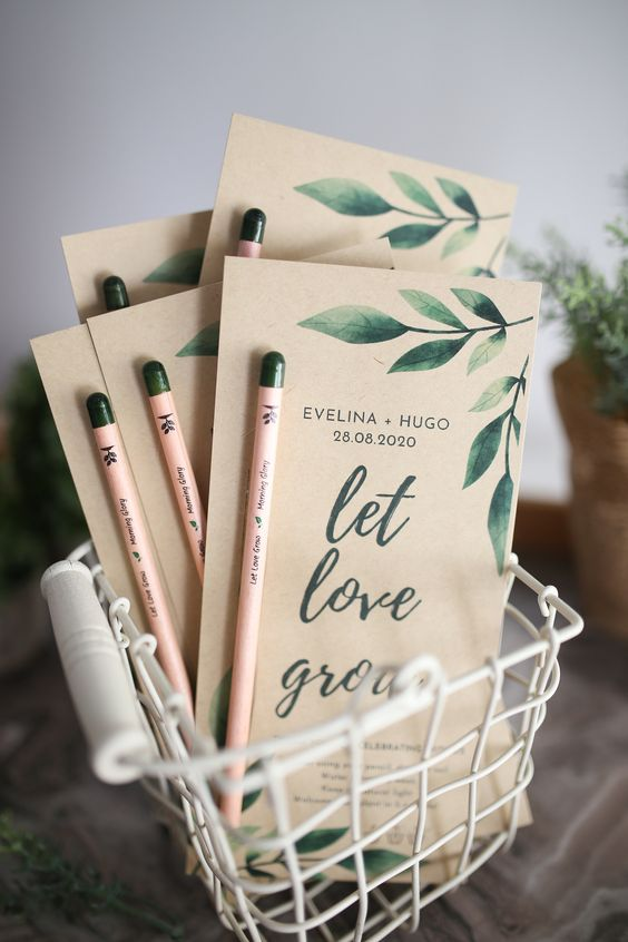 custom seed sticks stuck on a thank you card can be used as an unforgettable and unique wedding favor