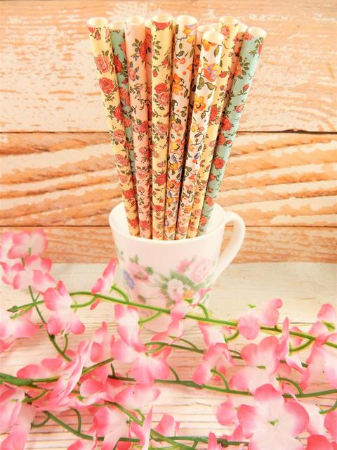 beautiful and colorful high-quality strong paper straws are biodegradable and will add a beautiful floral touch to your tables