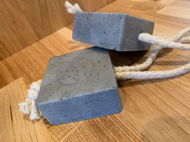 environmentally clean, charcoal and tea tee cleansing soap on a rope favours are amazing to add a spa touch to any bathroom