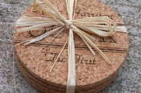 22 monogrammed cork wedding coasters are amazing for eco-friendly weddings and they can be used by many guests, if not all of them