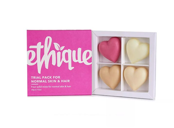 plastic-free shampoo bars are great beauty gifts and heart shapes are perfect for wedding favors