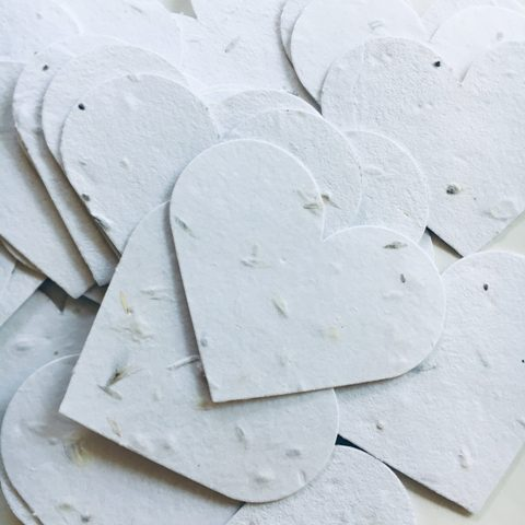 plantable seed paper hearts will add a lovely touch to your table and will give pretty wildflowers if planted, which is amazing