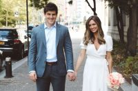 26 a casual wrap wedding dress with short sleeves and a ruffle skirt plus pink shoes is a very cool idea for a modern casual bride