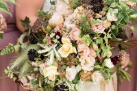 26 a gorgeous fall wedding bouquet of peachy, blush and deep purple blooms and lots of greenery and ribbons is a cool idea