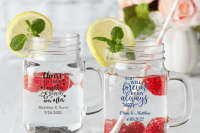 26 pretty and cute mason jar mugs with your names and a wedding date will be useful gifts and will be cool for a any guests