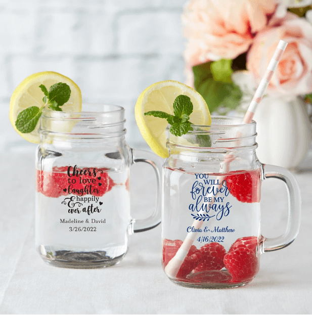 pretty and cute mason jar mugs with your names and a wedding date will be useful gifts and will be cool for a any guests