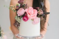 27 a cool modern bridal shower cake in white, with lush pink, hot pink and dark blooms and foliage is amazing