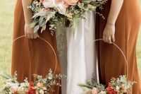 28 pretty fall blooms – white,peachy, red and pink blooms paired with greenery are amazing not only for a backyard wedding but also for many others