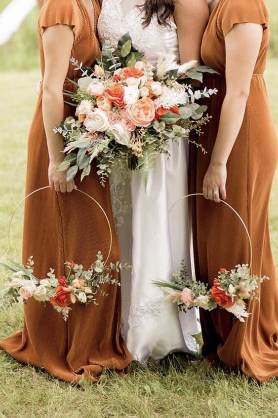 pretty fall blooms   white,peachy, red and pink blooms paired with greenery are amazing not only for a backyard wedding but also for many others